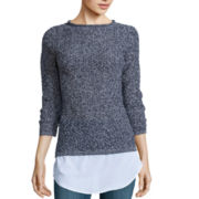 Liz Claiborne® Long-Sleeve Pointelle Layered Sweater
