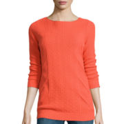 Liz Claiborne® 3/4-Sleeve Geo Stitch Tunic Sweater