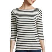 St. John's Bay® 3/4-Sleeve Striped Top - Petite