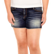 Arizona Raw-Hem Denim Shorts - Juniors Plus