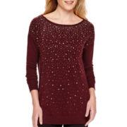 Worthington® Long-Sleeve Embellished Tunic Sweater - Tall