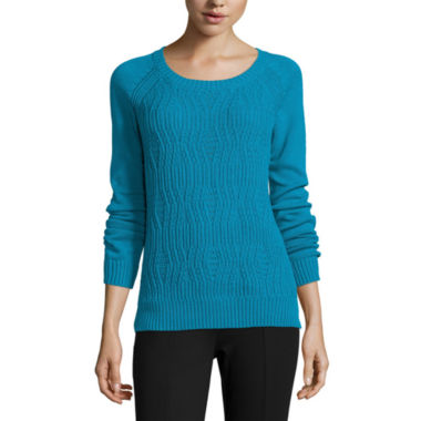 jcpenney.com | Stylus™ Long-Sleeve Textured Cable Sweater