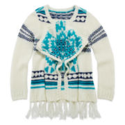 Arizona Tribal-Print Open Cascade Sweater - Girls 7-16 and Plus