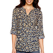 St. John's Bay® Long-Sleeve Roll-Tab Henley Tunic Top - Tall