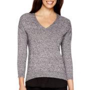 Liz Claiborne® 3/4-Sleeve V-Neck Layered Sweater - Tall