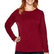 St. John's Bay® Long-Sleeve Crewneck T-Shirt - Plus