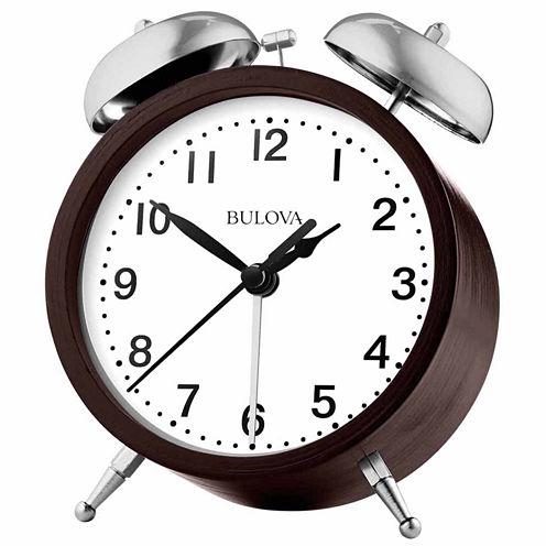 Bulova White Alarm Clock-B5026
