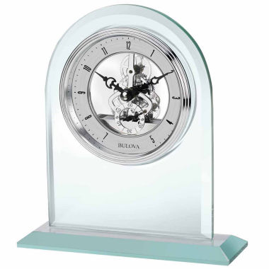 jcpenney.com | Bulova Clarity Desk Clock Silver-Tone Dial Polished Glass B5009