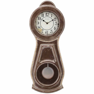 jcpenney.com | Bulova White Dial Brown Wood Wall Clock-C1518