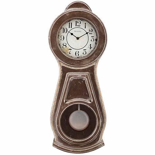 Bulova White Dial Brown Wood Wall Clock-C1518