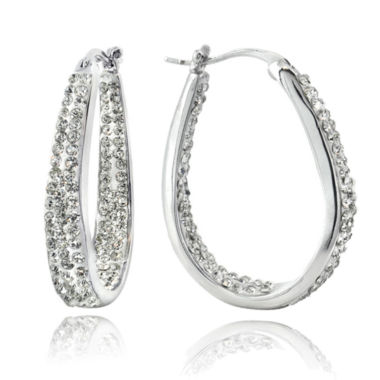 jcpenney.com | Sparkle Allure Silver Over Brass Hoop Earrings
