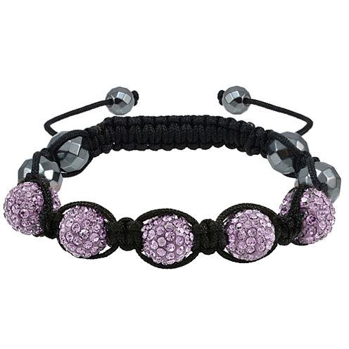 Sparkle Allure Womens Purple Silver Over Brass Beaded Bracelet