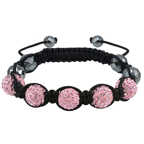 Sparkle Allure Womens Pink Silver Over Brass Beaded Bracelet