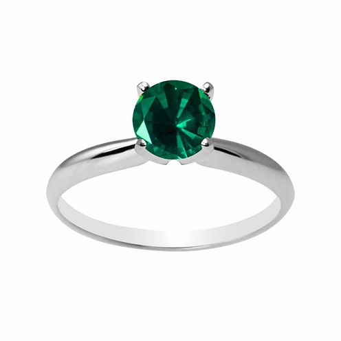 Womens Green Emerald 14K Gold Solitaire Ring
