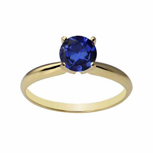 Womens Blue Sapphire 14K Gold Solitaire Ring
