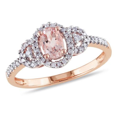 Genuine Morganite and Diamond 10K Rose Gold Ring