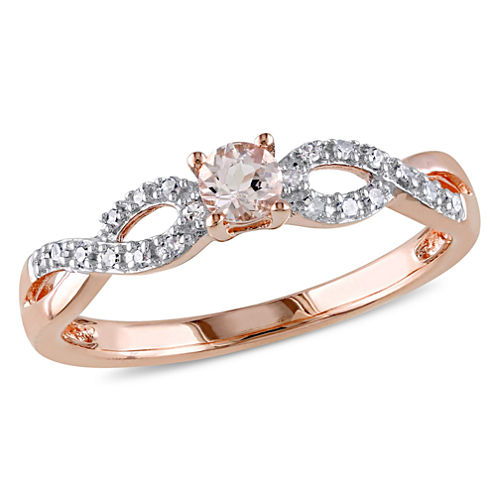 Genuine Morganite and Diamond Crisscross Ring