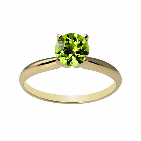 Womens Genuine Green Peridot 14K Gold Solitaire Ring