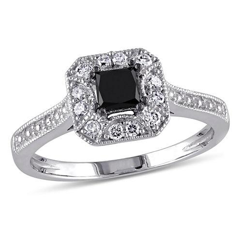 Midnight Black Diamond 1/2 CT. T.W. White and Color-Enhanced Black Diamond 10K White Gold Engagement Ring