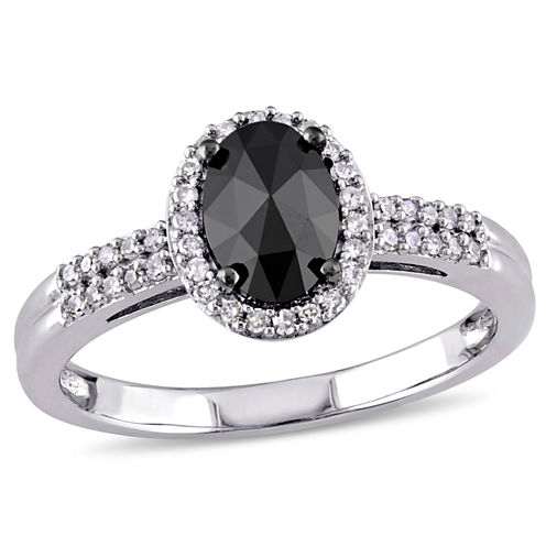 Midnight Black Diamond 1 CT. T.W. 14K White Gold Diamond Bridal Ring