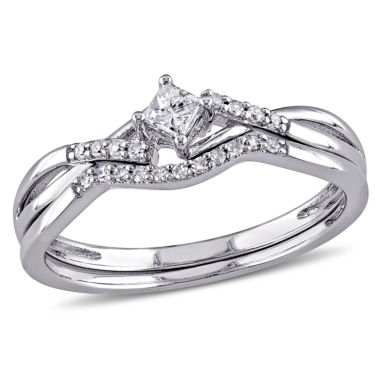 jcpenney.com | 1/5 CT. T.W. Diamond Bridal Ring Set Sterling Silver