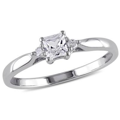 Created White Sapphire DiamondAccent Engagement Ring