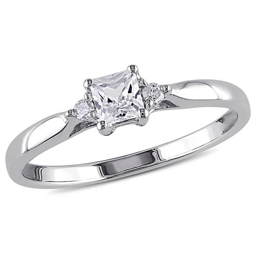 lab created white sapphire diamond accent engagement ring - Jcpenney Jewelry Wedding Rings