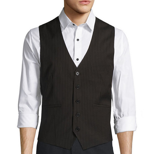 WD.NY Black Pinstripe Vest