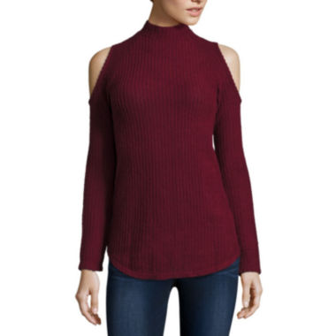 jcpenney.com | Decree® Long Sleeve Cold Shoulder Mock Neck Top - Juniors