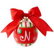 Glass Ball Initial Christmas Ornament