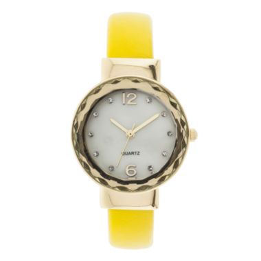 jcpenney.com | Womens Crystal-Accent Mother-of-Pearl Bangle Watch