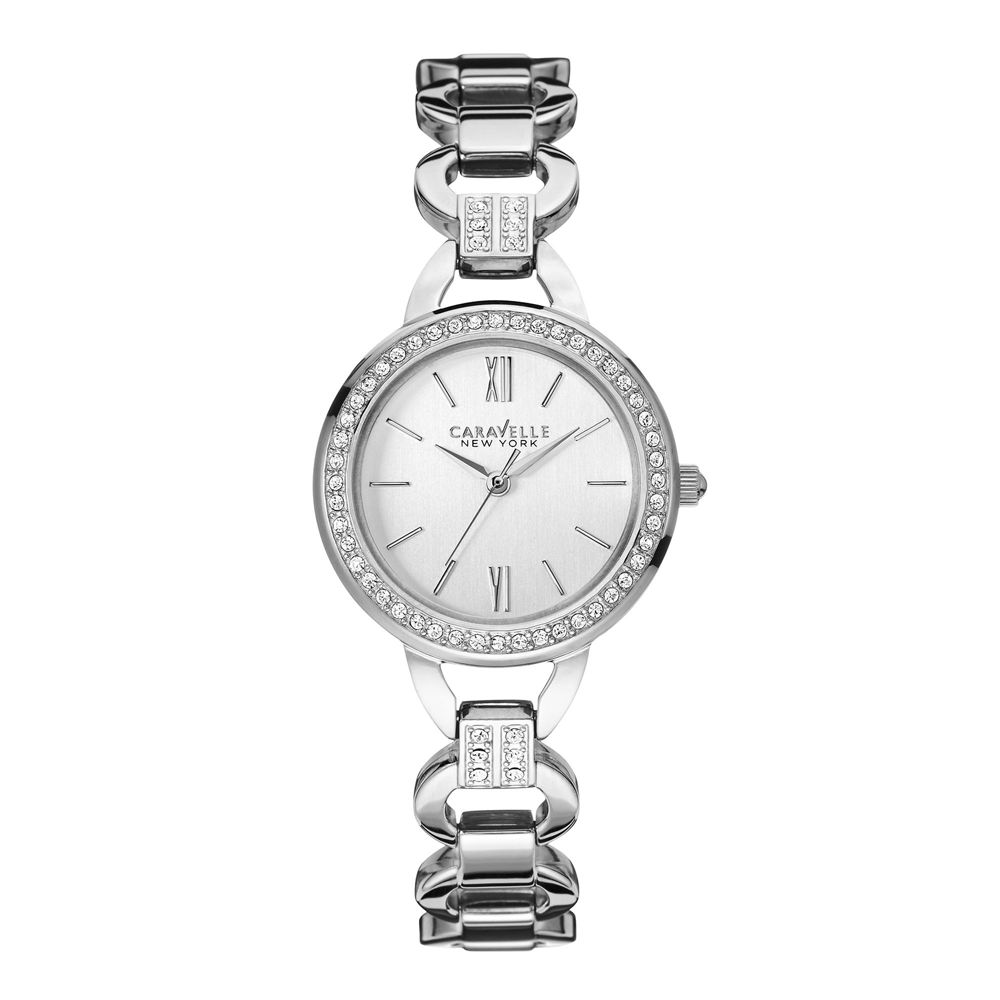 Caravelle New York Womens Crystal-Accent Open Link Bracelet Watch 43L180