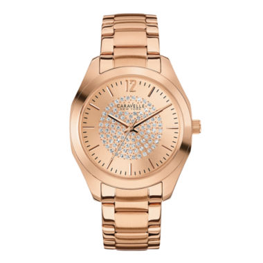 jcpenney.com | Caravelle New York® Womens Crystal-Accent Rose-Tone Stainless Steel Watch 44L160