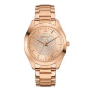 Caravelle New York® Womens Crystal-Accent Rose-Tone Stainless Steel Watch