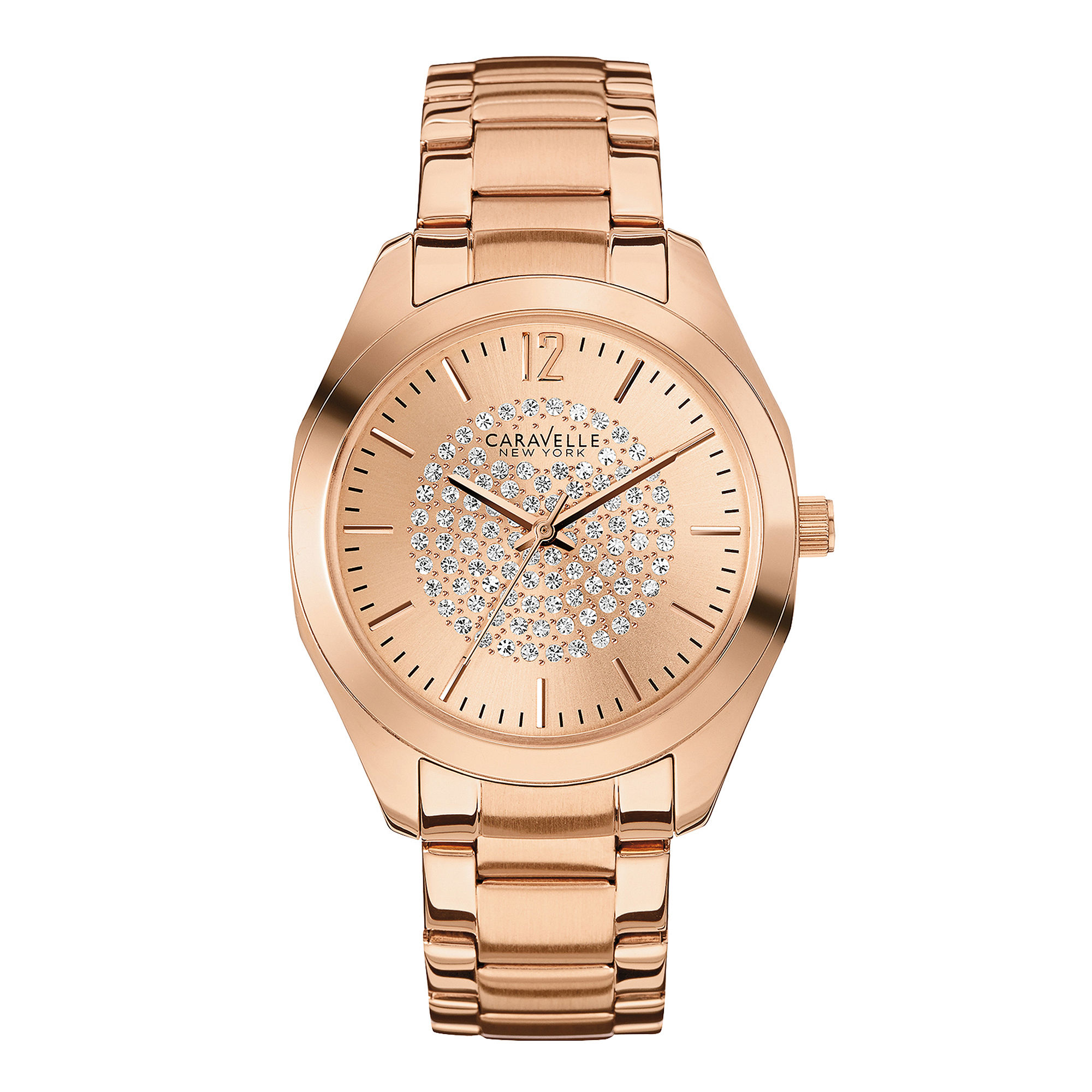Caravelle New York Womens Crystal-Accent Rose-Tone Stainless Steel Watch 44L160