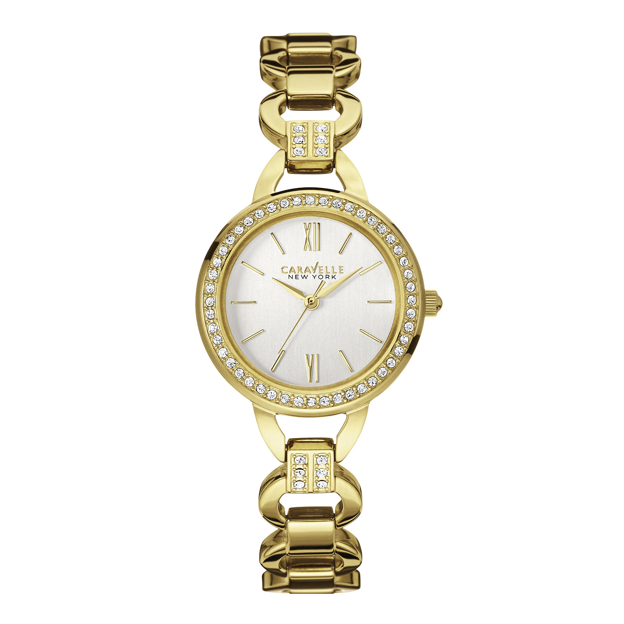 Caravelle New York Womens Crystal-Accent Open Link Bracelet Watch 44L162
