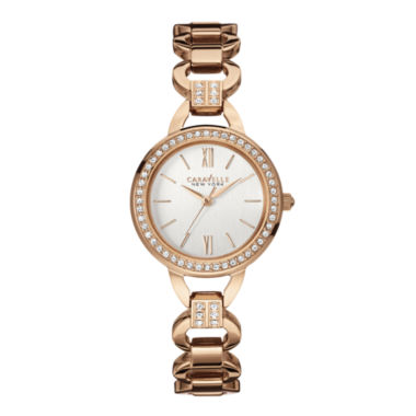 jcpenney.com | Caravelle New York® Womens Crystal-Accent Open Link Bracelet Watch 44L163