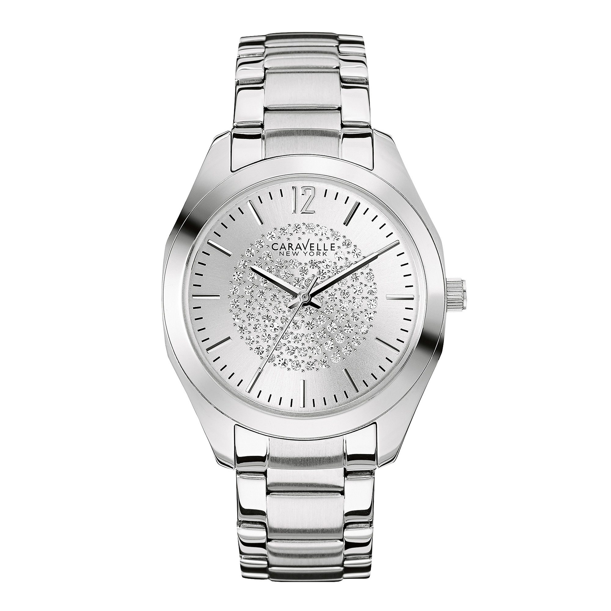 Caravelle New York Womens Crystal-Accent Stainless Steel Bracelet Watch 43L179