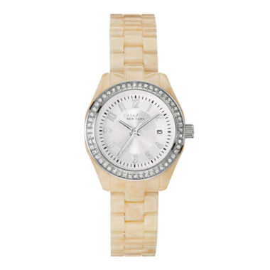 jcpenney.com | Caravelle New York® Womens Crystal-Accent White Resin Strap Watch 43M109