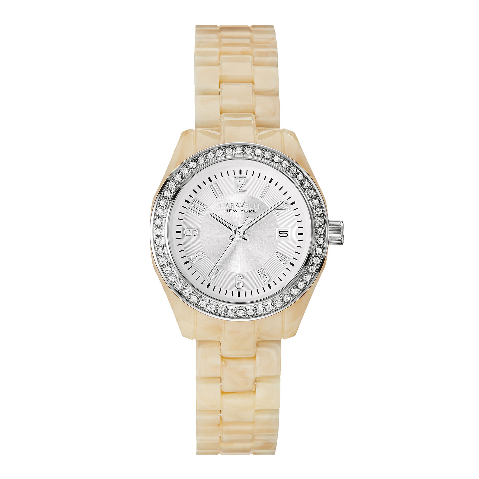 Caravelle New York Womens Crystal-Accent White Resin Strap Watch 43M109