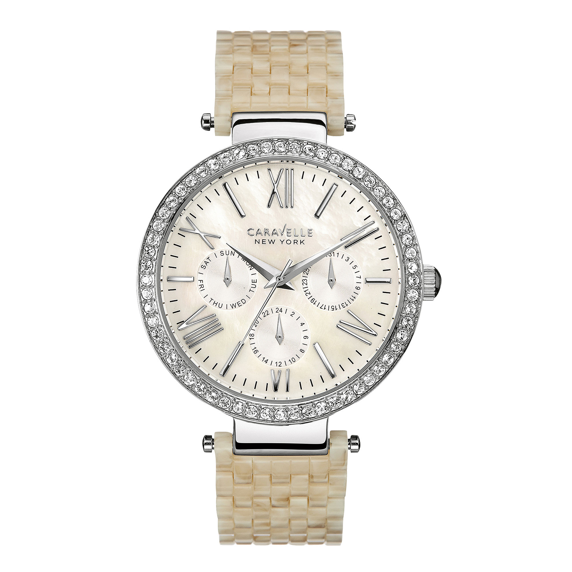 Caravelle New York Womens Crystal-Accent White Resin Strap Watch 43N102