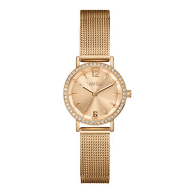 jcpenney.com | Caravelle New York® Womens Crystal-Accent Rose-Tone Stainless Mesh Watch 44L158