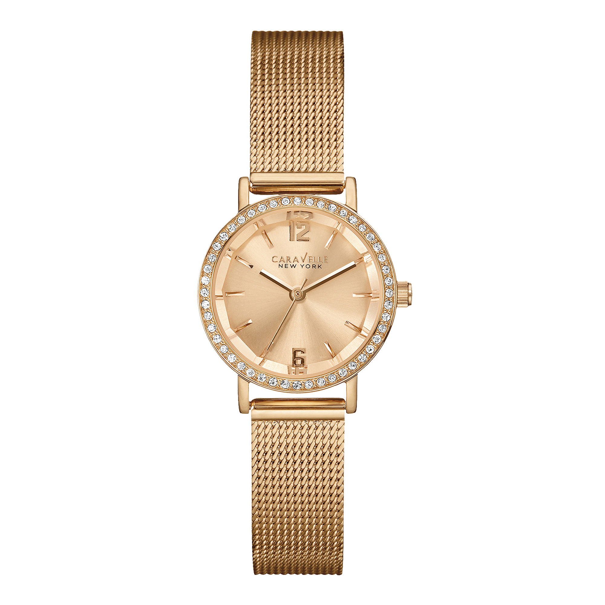 Caravelle New York Womens Crystal-Accent Rose-Tone Stainless Mesh Watch 44L158