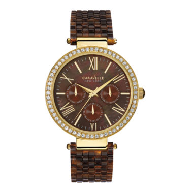 jcpenney.com | Caravelle New York® Womens Crystal-Accent Brown Resin Strap Watch 44N102