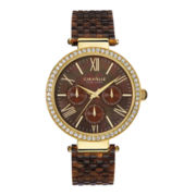 Caravelle New York® Womens Crystal-Accent Brown Resin Strap Watch