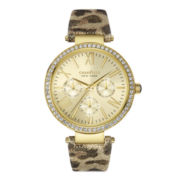 Caravelle New York® Womens Crystal-Accent Gold-Tone Leather Strap Bracelet Watch