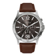 Caravelle New York® Mens Brown Leather Strap Watch 43A128