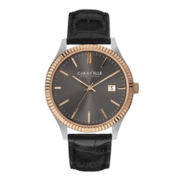 Caravelle New York® Mens Black Leather Strap Watch
