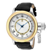 Invicta® Russian Diver Mens Gold-Tone Bezel Black Leather Strap Sport Watch