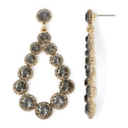 Gemma Simone™ Gold-Tone Gray Crystal Teardrop Earrings